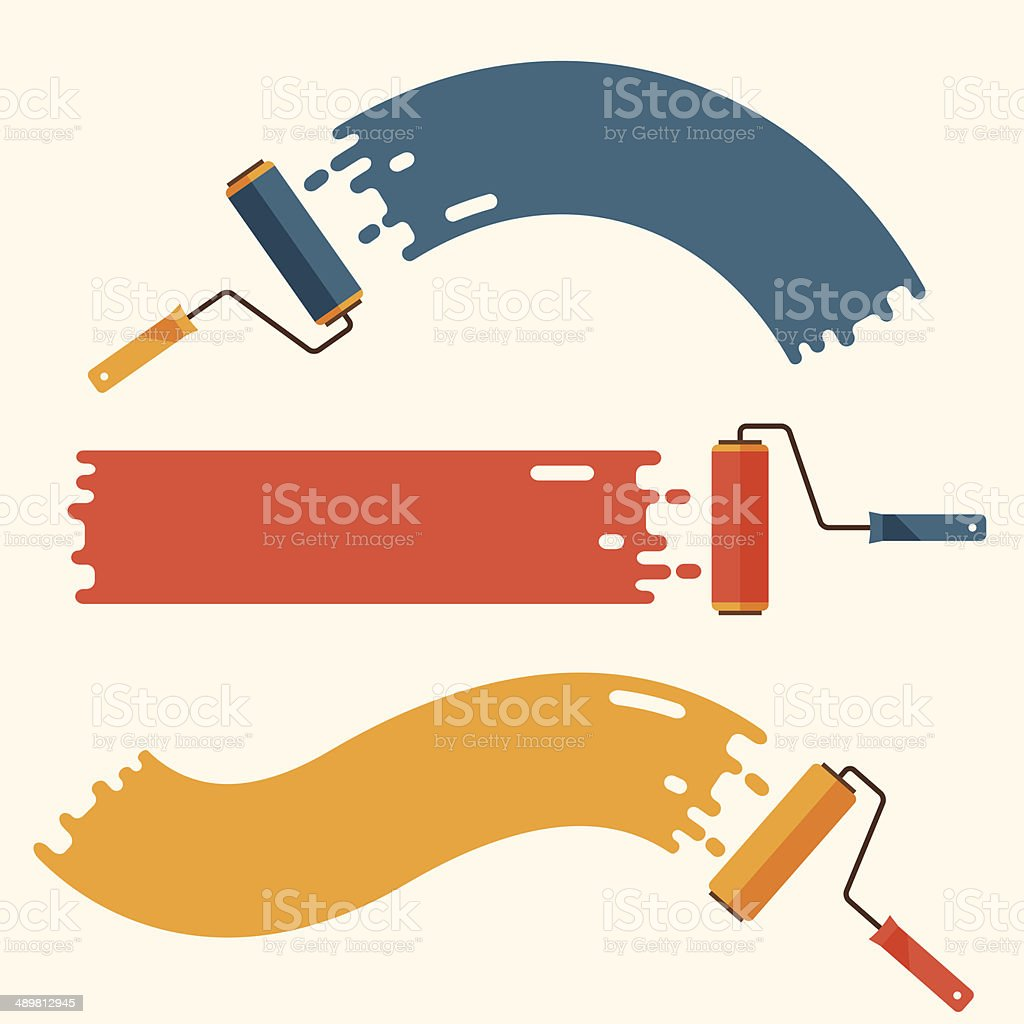 Set of roller brushes with strips paint. vector art illustration