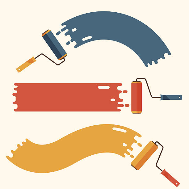 Set of roller brushes with strips paint. Set of roller brushes with strips paint. paint roller stock illustrations