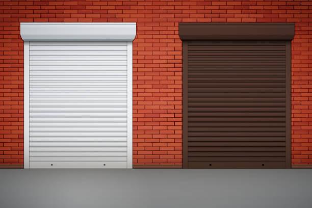 ilustrações de stock, clip art, desenhos animados e ícones de set of roller shutters on window - com portada