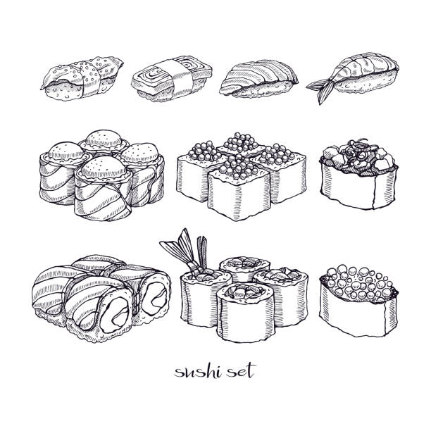 Ensemble de rouleaux et sushi - Illustration vectorielle