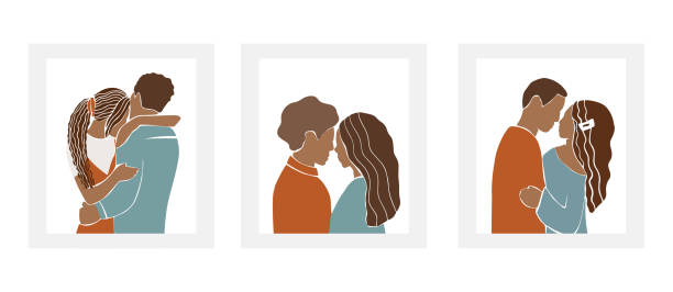 Set of romantic African American couples, Nigerian pairs of men and women on date, hugs and kisses. Abstract silhouette style characters isolated on white background. Minimalist vector illustration.. Set of romantic African American couples, Nigerian pairs of men and women on date, hugs and kisses. Abstract silhouette style characters isolated on white background. Minimalist vector illustration.. african american valentine stock illustrations