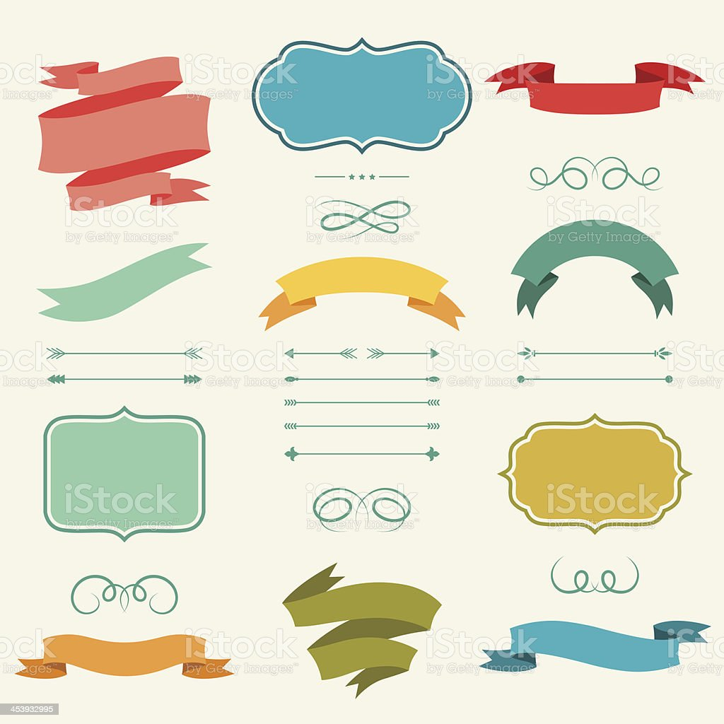 Set of romantic arrows, ribbons and labels in retro style. vector art illustration