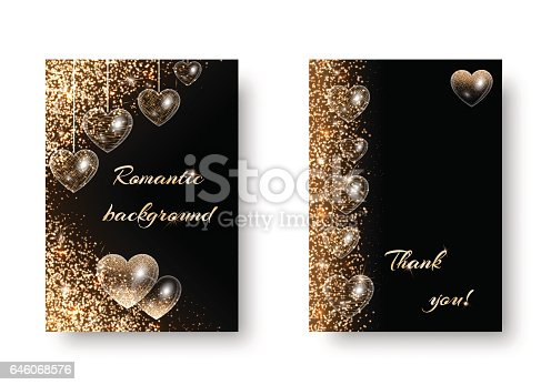 Heart background pattern with shimmering lights. Vibrant design on a black backdrop. Valentines Day banner with hearts.