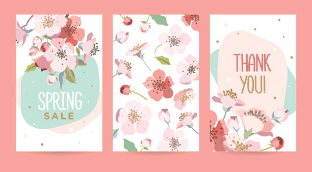 A set of romantic cards with blooming cherry. Design template card for the hotel, beauty salon, spa, restaurant, club. Vector illustration of a spring bouquet of flowers. birthday designs stock illustrations