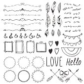 Set of romantic decor elements. Hand drawing style, sketchy vintage vector. Weddings, Valentines day, birthday, design templates, invitations. Vector illustration