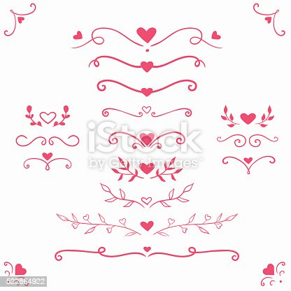 vector set with romantic dividers, borders, curls and swirls