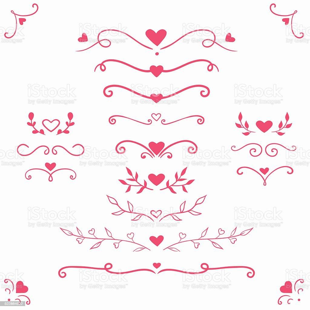 Ensemble de séparateurs romantique et frontières - Illustration vectorielle