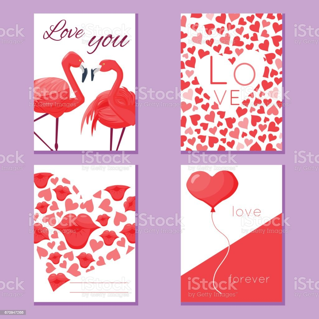 Set Of Romantic Modern Love Cards Stock Vector Art & More Images of ...