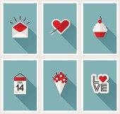 Set of romantic Valentines day symbols