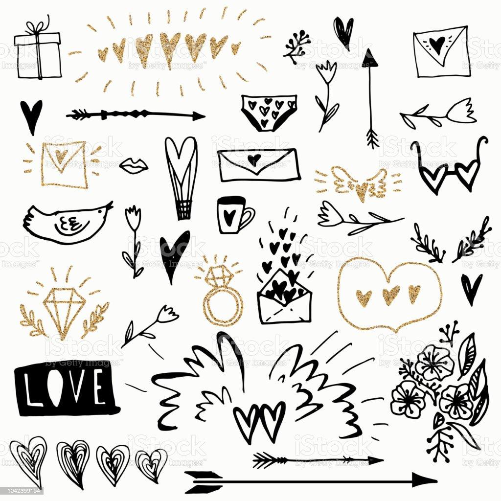 Satz von romantischen Vektorelemente Doodle Design. Verwendet für die Grußkarte, Banner, Poster, gratulieren. Drucken. – Vektorgrafik