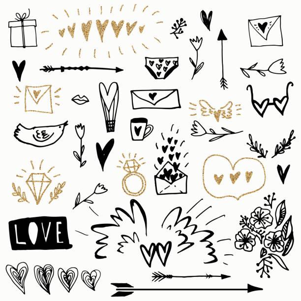 satz von romantischen vektorelemente doodle design. verwendet für die grußkarte, banner, poster, gratulieren. drucken. - graffiti schriftarten stock-grafiken, -clipart, -cartoons und -symbole