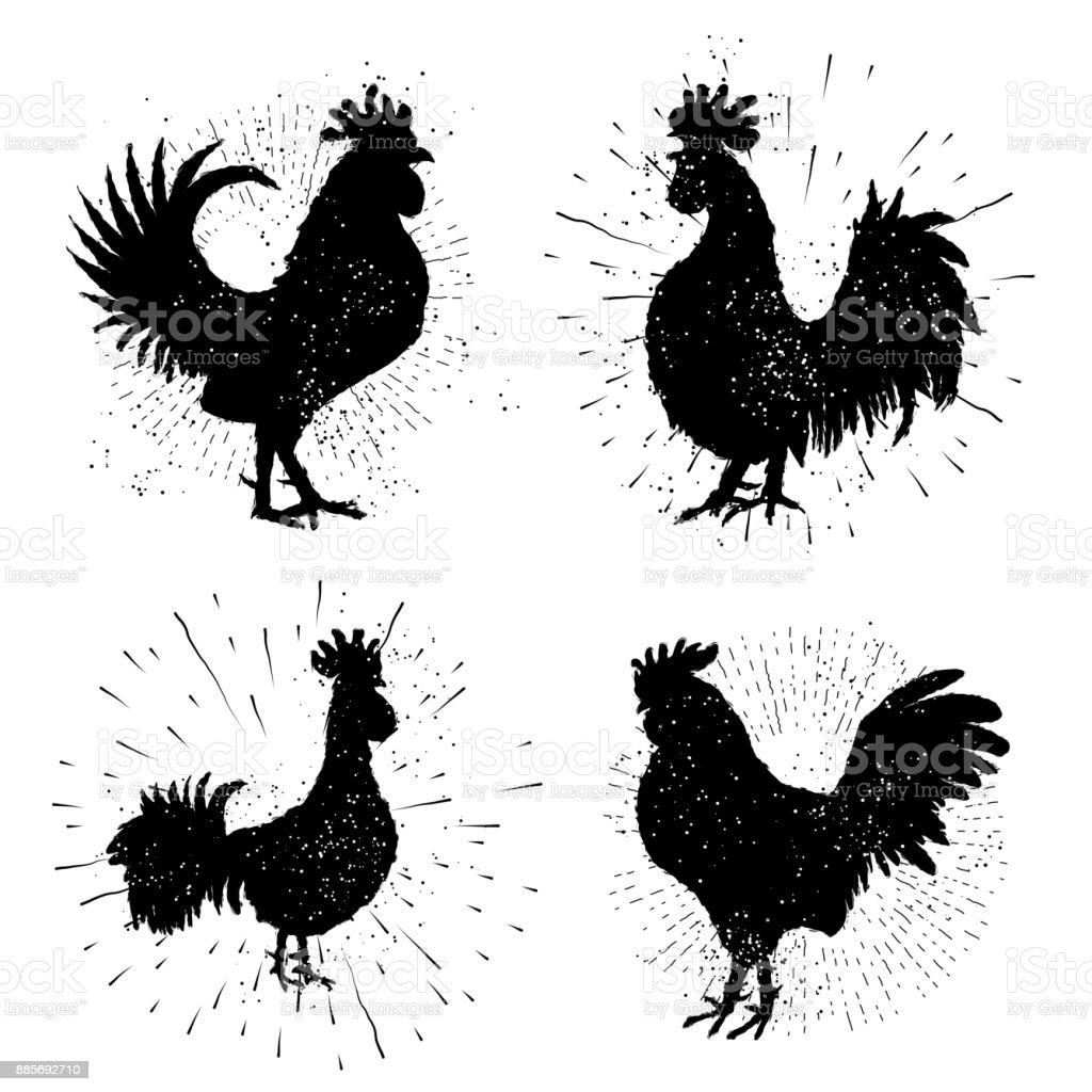 Horoz Etiket Kümesi Vintage Tarzı Horoz Illüstrasyon El Vintage