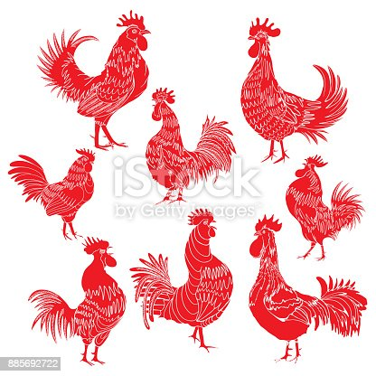 Set Of Roosters As Animals Zodiac Symbols For Chinese New Year 2017