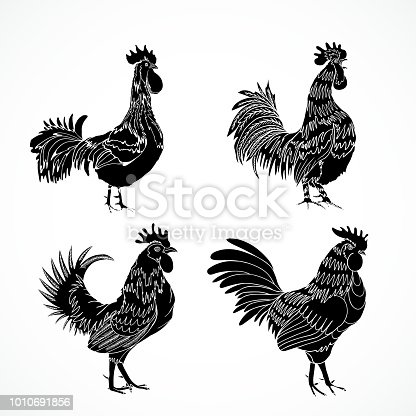 Set Of Roosters As Animals Zodiac Symbols For Chinese New Year Hand