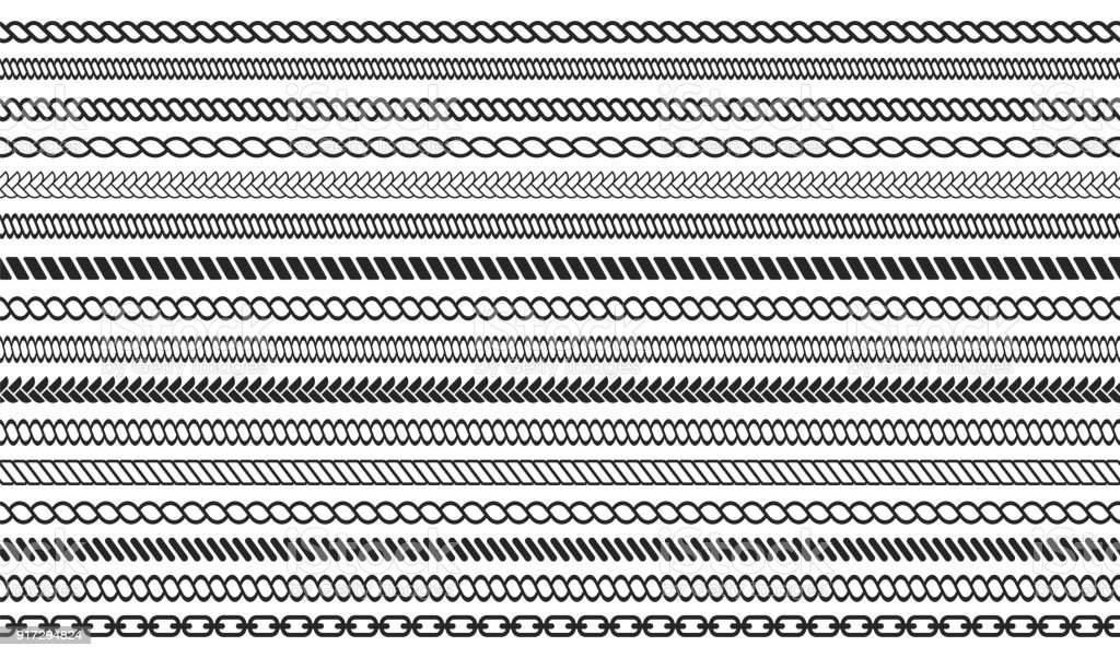 Set of rope and chain brushes. Seamless nautical rope and chain stripes isolated on background