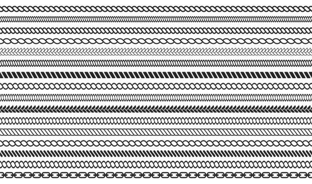 stockillustraties, clipart, cartoons en iconen met set van touw en keten borstels. naadloze nautische touw en keten strepen geïsoleerd op achtergrond - touw