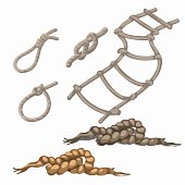 Set of rope elements, ladder, lasso, knots, loop