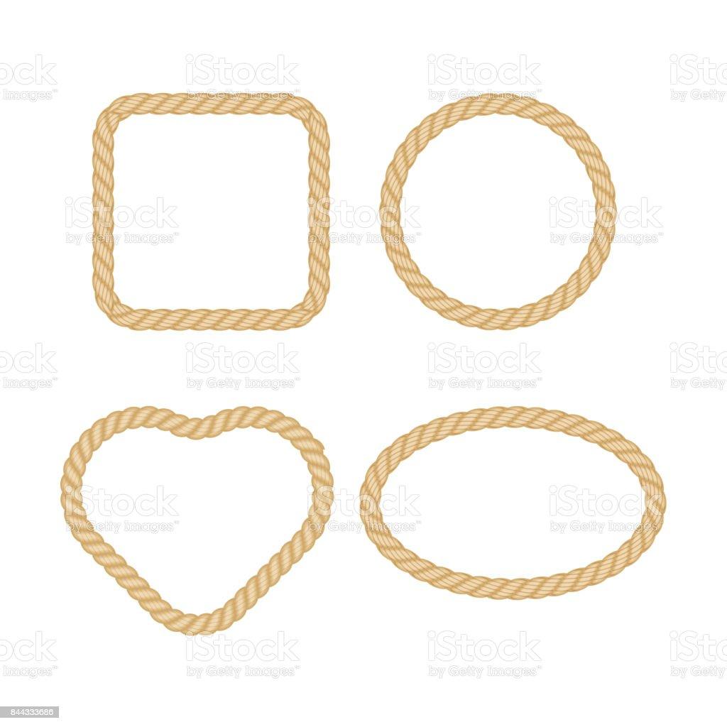 Set of rope frame in marine style. Vector illustration. vector art illustration