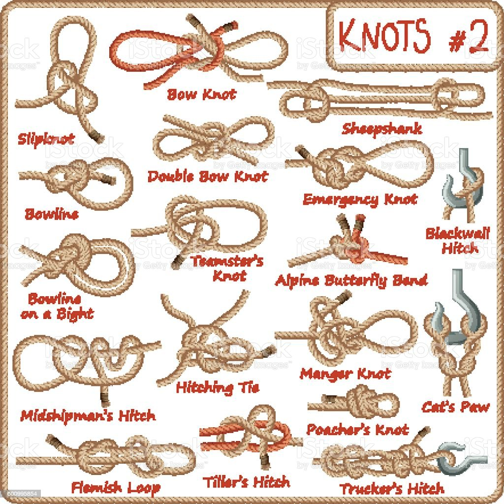 Set of rope knots, hitches, bows, bends isolated on white