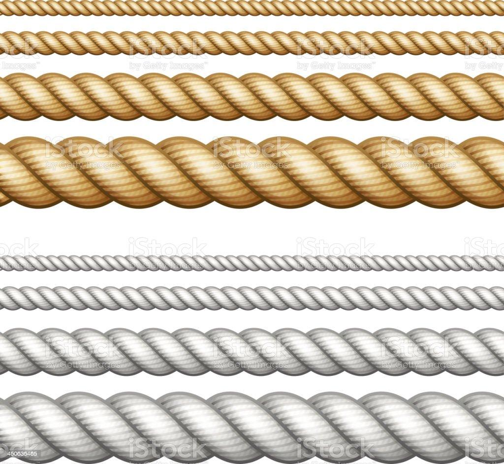 Set of ropes on white vector art illustration