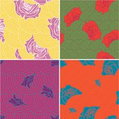 Set of four rose and circle seamless patterns. Vector. (EPS8, JPG 3000x3000)