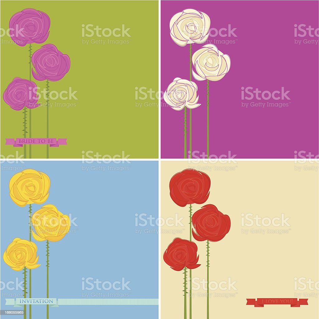 Set of Roses Greeting Cards royalty-free stock vector art