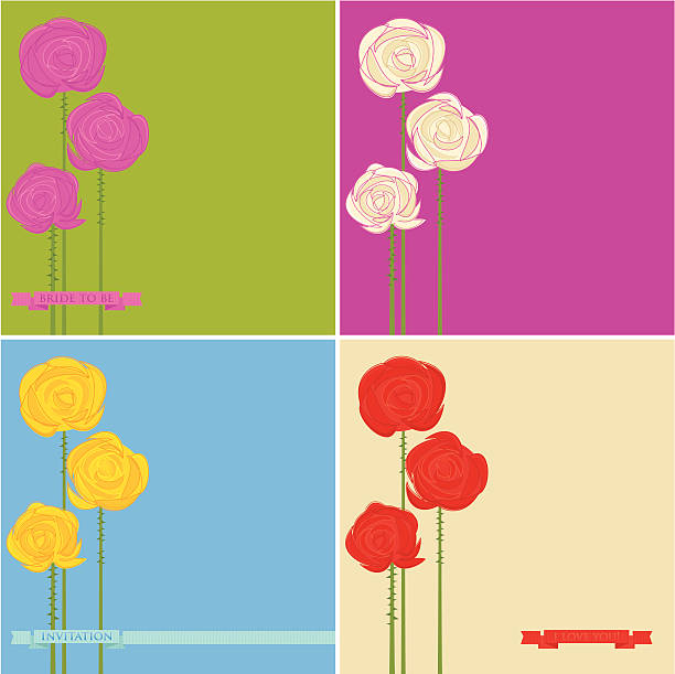 Set of Roses Greeting Cards vector art illustration