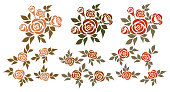 Vector set of isolated bouquets of roses and design elements.