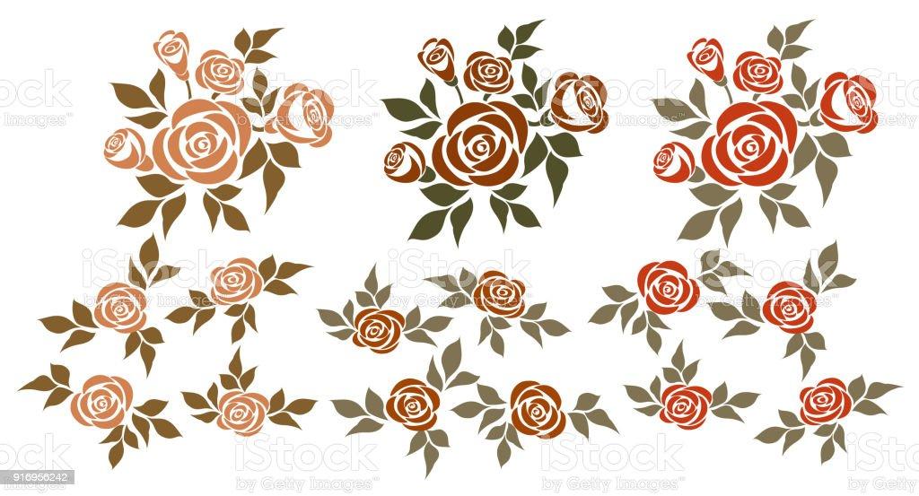 Conjunto de rosas. - ilustração de arte em vetor