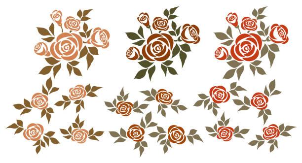 ilustrações, clipart, desenhos animados e ícones de conjunto de rosas. - fontes de tatuagem