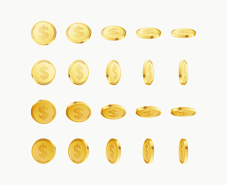 Set of rotating gold coins with dollar currency sign. 3d dollar coins. Golden money set. Applicable for gambling games, jackpot illustration. Vector illustration.