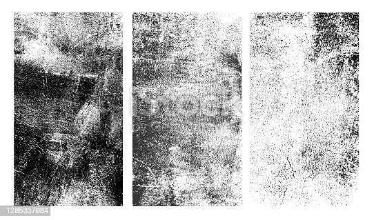 istock Set of rough black and white texture. Distressed overlay texture. Old grunge background. Monochrome vintage abstract textured effect. Vector Illustration. Black isolated on white background. 1285337684