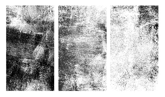 Set of rough black and white texture. Distressed overlay texture. Old grunge background. Monochrome vintage abstract textured effect. Vector Illustration. Black isolated on white background.