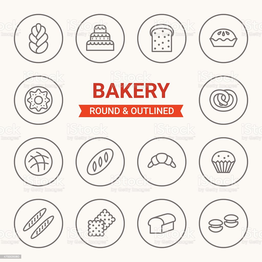 Set of round and outlined bakery icons vector art illustration