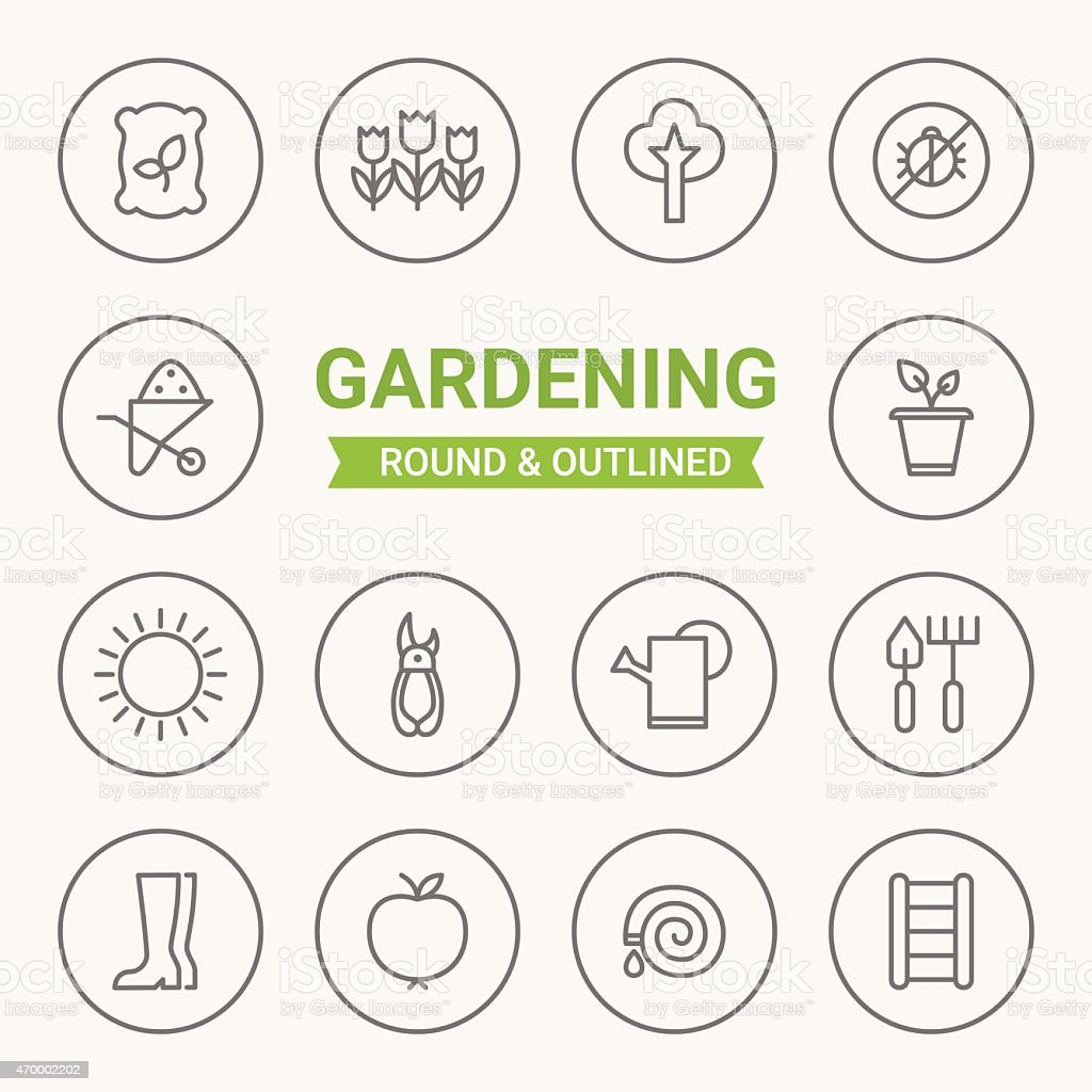 Set of round and outlined gardening icons vector art illustration