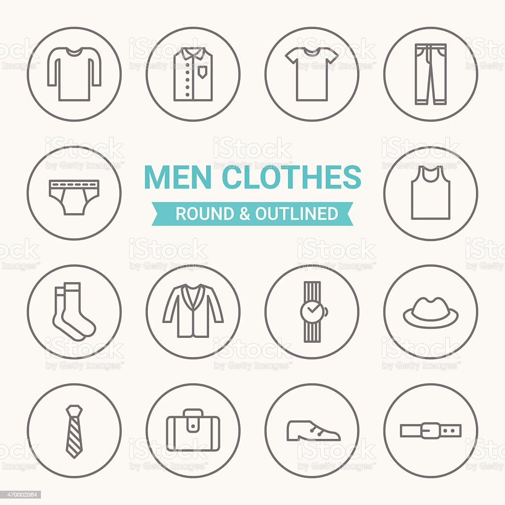 Set of round and outlined men clothing icons vector art illustration