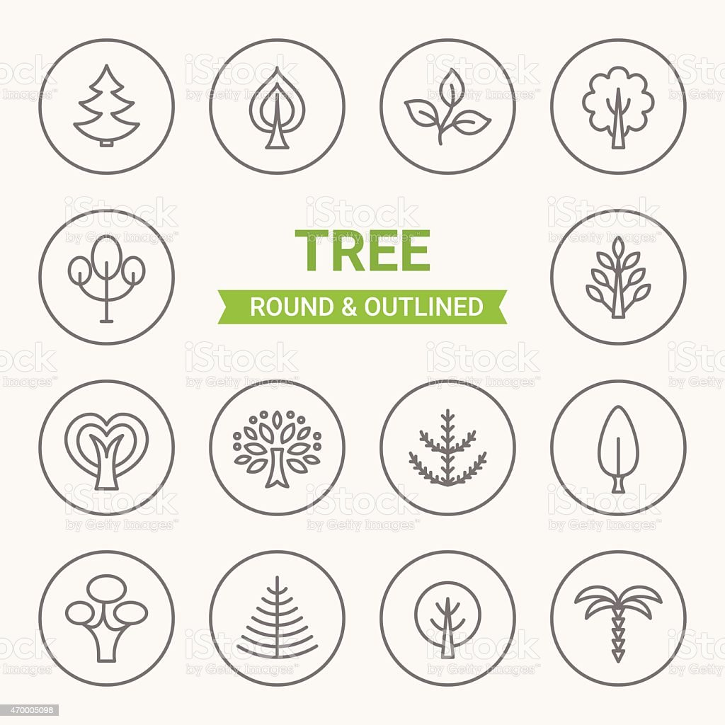 Set of round and outlined tree icons vector art illustration