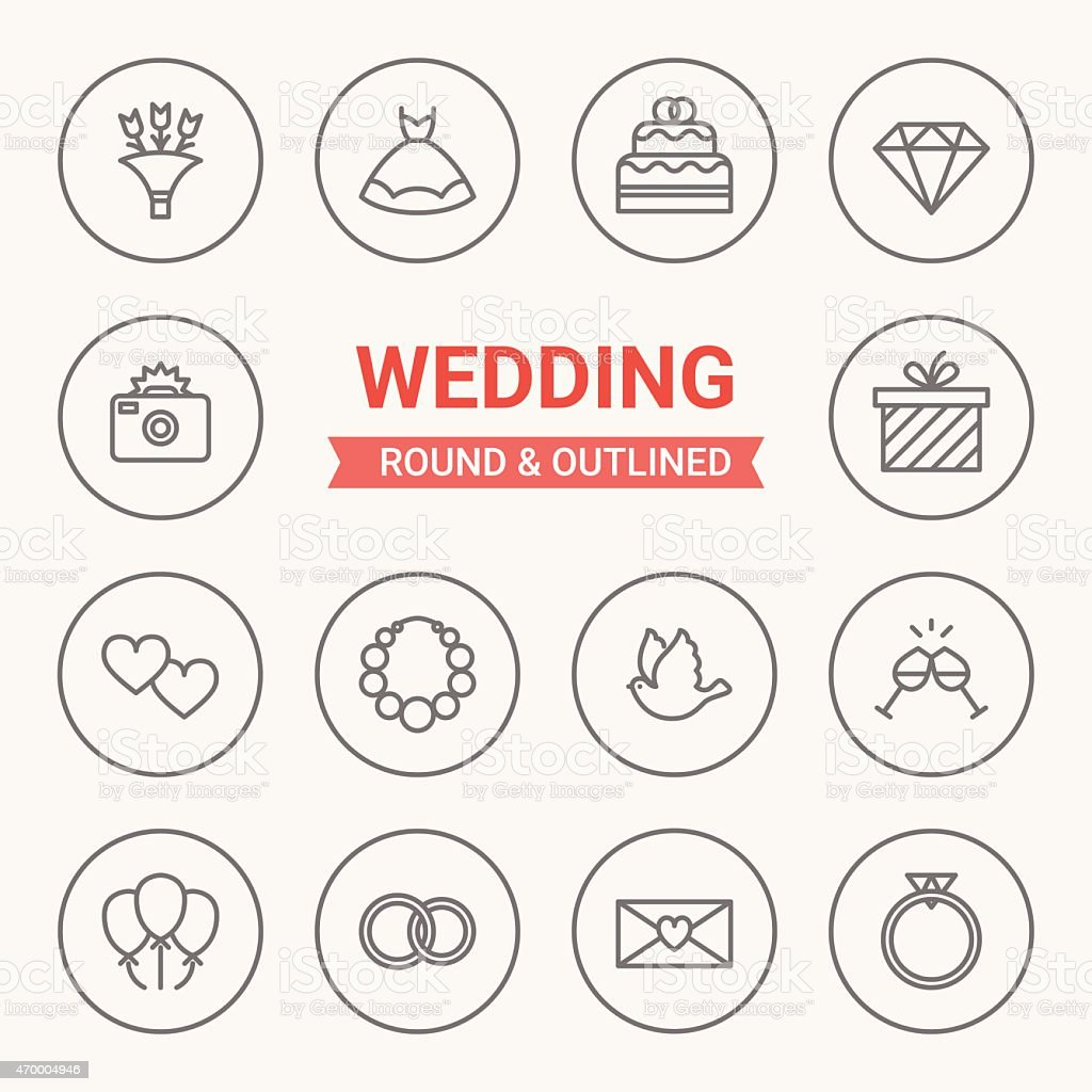 Set of round and outlined wedding icons vector art illustration