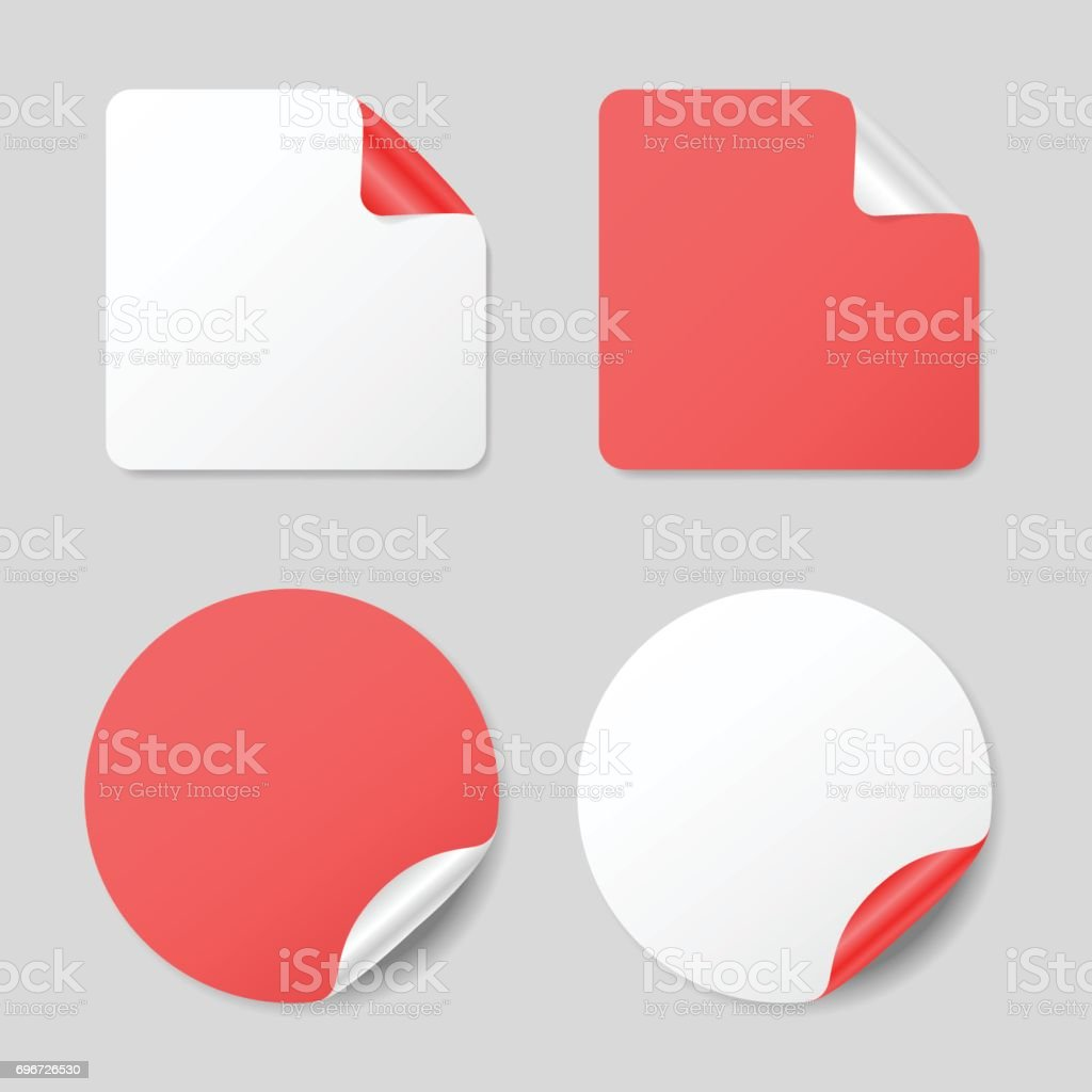 Set of round and square stickers, realistic mockups vector art illustration