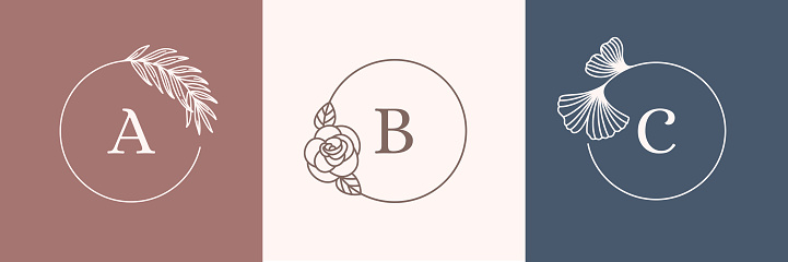 A set of Round Botanical frames in a minimal linear style. Vector symbol design template palm, rose and Ginkgo leaf.