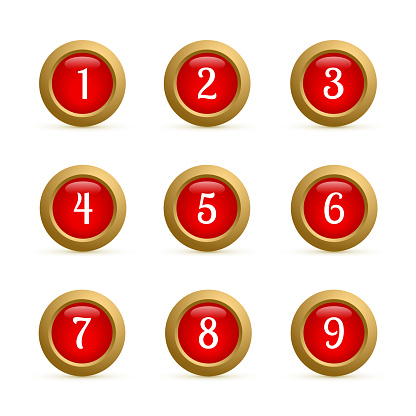 a23e12565 Set Of Round Buttons With Numbers From 1 To 9 Glossy Red And Gold Buttons  Isolated On White Numbered Badges Vector Icons 3d Keys For Websites And  Mobile ...