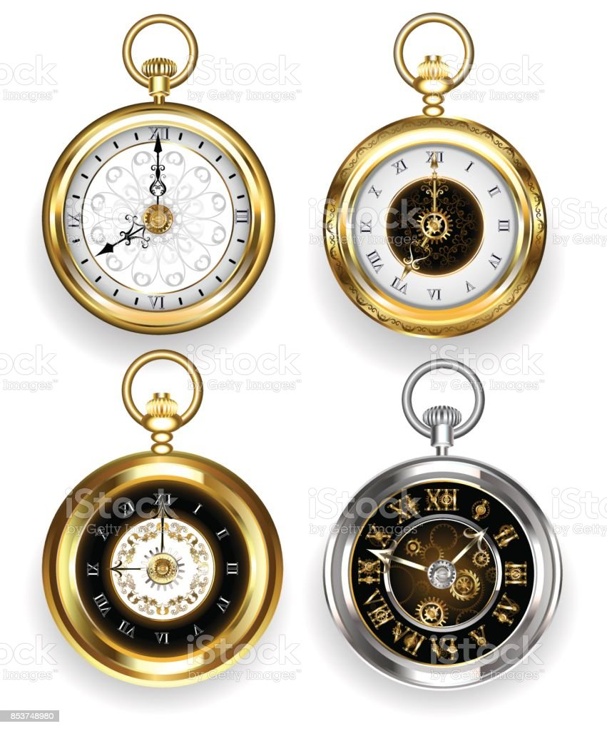 Set of round clock vector art illustration