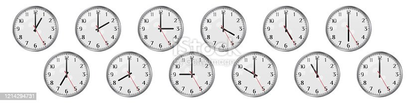 Set of round clocks showing various time. World clock set, time zones. Realistic vector illustration. The clock shows different times of the day from one to twelve.