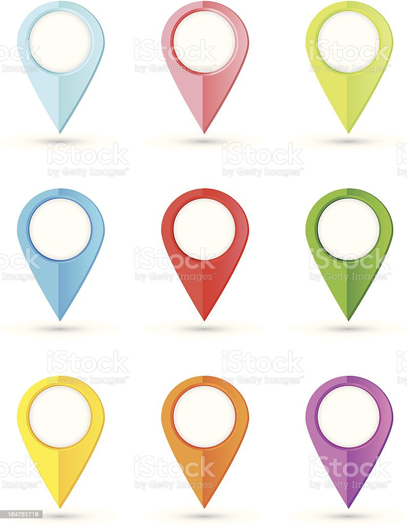 Set of round color pointers with place for your content vector art illustration