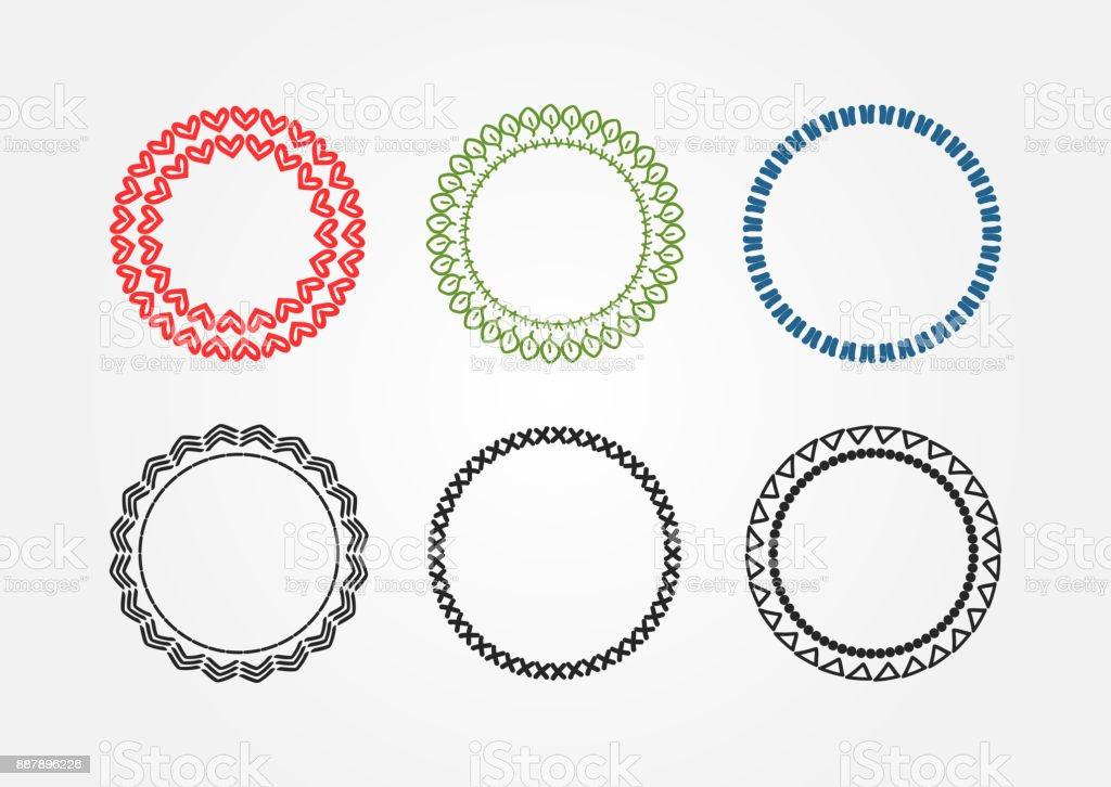 Set Of Round Colored Frames Drawn By Hand Sketch Doodle Scribble ...