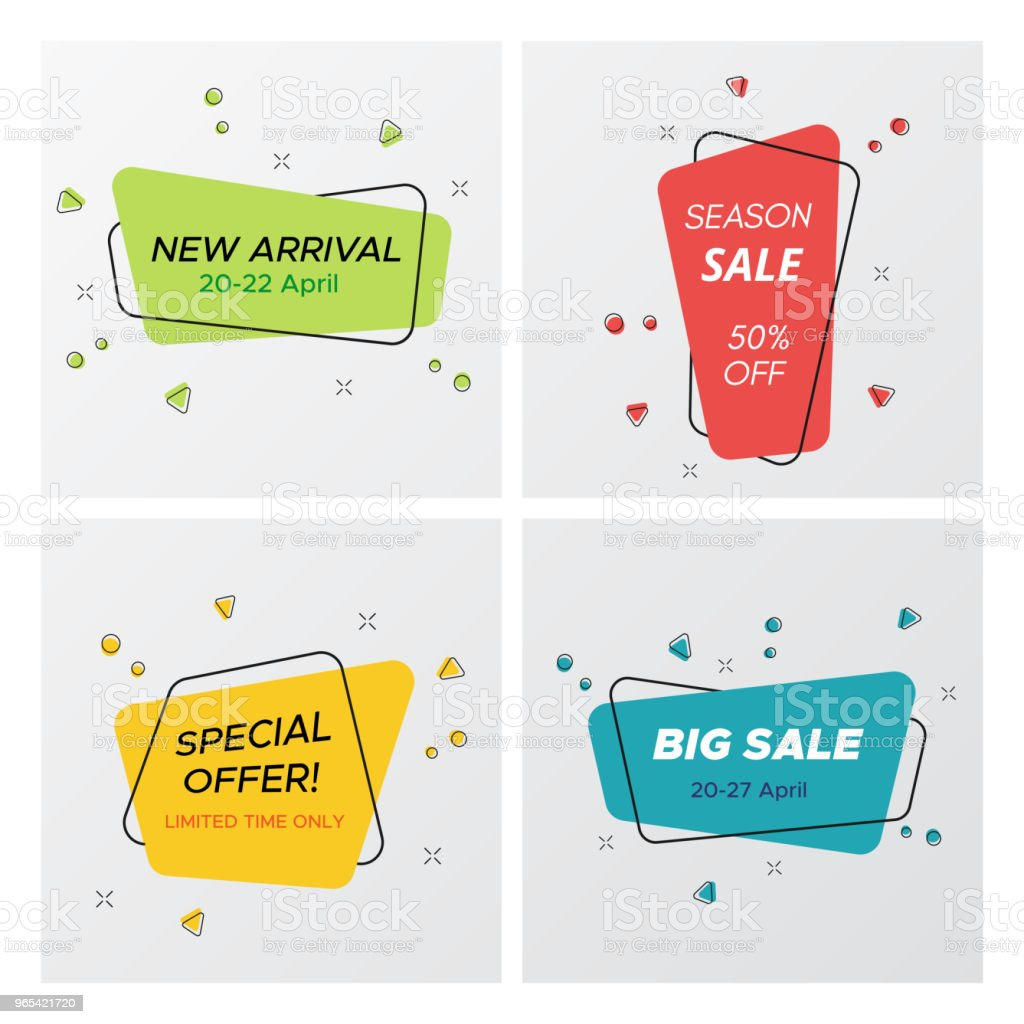Set of round corners rectangle promo sale tags royalty-free set of round corners rectangle promo sale tags stock illustration - download image now
