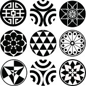 Set of 9 Round Vector Design Elements