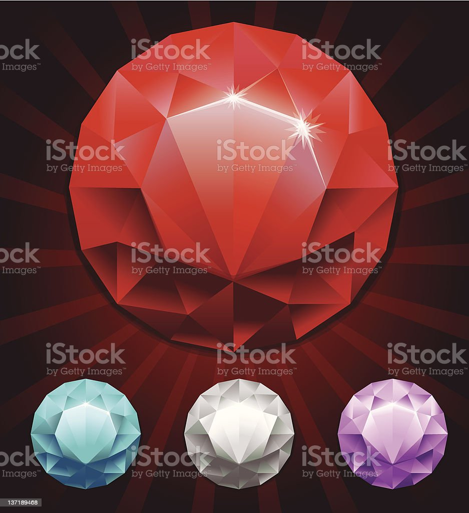 set of round diamonds in 4 colors royalty-free stock vector art