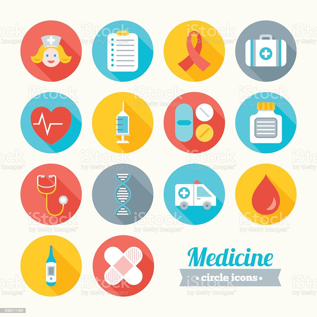 Set of round flat medical icons vector art illustration