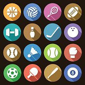 Vector illustration. Set of round flat simple icons of sports equipment with shadow effect